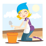 Woman Planting Seeds Stock Images