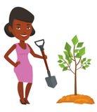 Woman plants tree vector illustration. Stock Photo