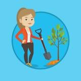 Woman plants tree vector illustration. Royalty Free Stock Photo