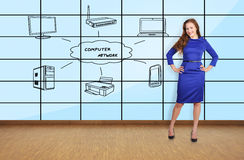 Woman and plasma wall Royalty Free Stock Image