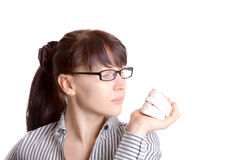 Woman & plaster jaw model Royalty Free Stock Photography