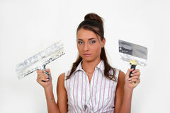 Woman plastering the wall Stock Photo