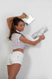 Woman plastering the wall Royalty Free Stock Photos