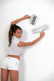 Woman plastering the wall Royalty Free Stock Photo