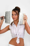 Woman plastering the wall Stock Photography