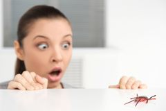 Woman with plastic spider acting scared. Royalty Free Stock Photos
