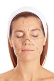 Woman before plastic surgery with lines Royalty Free Stock Photography