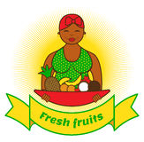 Woman with plate. Beautiful smiling woman with plate full of fruits Royalty Free Stock Photo