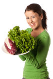 Woman with plate of salad Stock Photography
