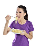 Woman with plate of spaghetti Royalty Free Stock Photo