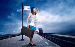 Woman on the platform Stock Photo