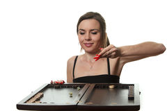 Woman play backgammon Royalty Free Stock Photo