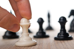 Woman play chess game Royalty Free Stock Image