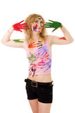 Woman play with colors Royalty Free Stock Photo