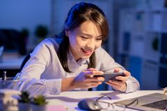 Woman play the game stock photography
