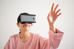 Woman play game with virtual reality glasses Stock Photos