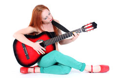 Woman play with guitar Stock Photo