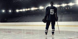 Woman play hockey  . Mixed media Royalty Free Stock Photography