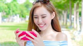 Woman use phone Stock Photo