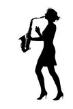 Woman play saxophone Stock Photo