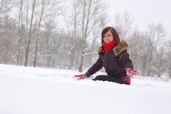 Woman play in snow. Outdoors royalty free stock photo