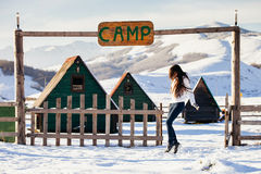 Woman play with snow at ski resort camp Royalty Free Stock Photography