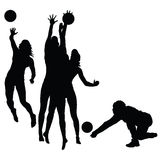 Woman play volleyball silhouette Stock Photo