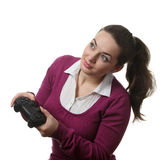 Woman play wideogame Royalty Free Stock Photos