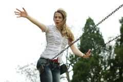 Woman at the playground Stock Photography