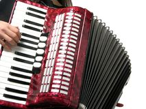 Woman playing accordion Royalty Free Stock Image