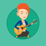 Woman playing acoustic guitar vector illustration. Royalty Free Stock Photos