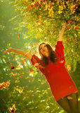 Woman playing with autumnal leaves. Stock Photography