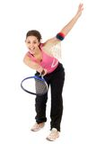 Woman playing badminton. Young woman playing badminton isolated on white background Stock Image