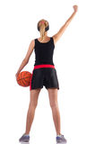 The woman playing basketball isolated on white Stock Images