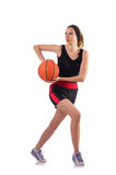 The woman playing basketball isolated on white Stock Photo