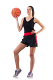 The woman playing basketball isolated on white Royalty Free Stock Images
