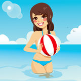 Woman Playing Beach Ball Stock Images