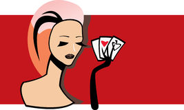 Woman with playing card. Vector image of woman with playing card royalty free illustration