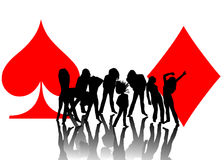 Woman playing and card symbols Royalty Free Stock Images