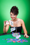 Woman playing with the cards Stock Image