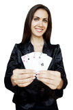 Woman with playing cards Stock Photography