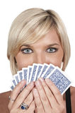 Woman Playing Cards Royalty Free Stock Image