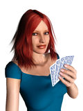 Woman playing cards. A woman with red hair holding cards in her hand Royalty Free Stock Photography