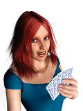 Woman playing cards Stock Images