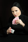 Woman with playing cards Stock Photos