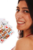 Woman playing cards. Stock Image