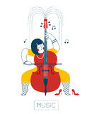 Woman playing the cello Stock Images