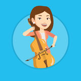 Woman playing cello vector illustration. Stock Photography