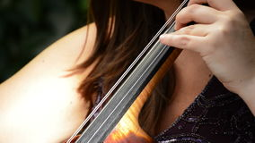 Woman playing cello or violoncello in a concert. Detail of bridge and strings of cello or violoncello while it`s being played in a music concert of quartet stock video footage