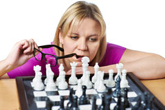 Woman playing chess isolated Royalty Free Stock Photo